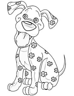 Colour it, sew it, trace it, etc.  Colouring page / image. Cute dog. Geluks brengertje