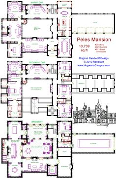 Randwulf Design's miniature version of Peles Castle, Romania. This plan is 13,739 sq ft  (HogwartsCampus.com)