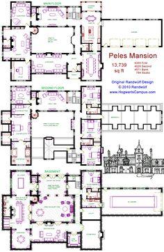 Randwulf Design's miniature version of Peles Castle, Romania. This plan is 13,739 sq ft (HogwartsCampus.com)