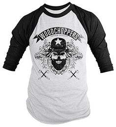 Shirts By Sarah Men's Grunge Urban Lumberjack 3/4 Sleeve Raglan Shirt Woodchoppers Skull