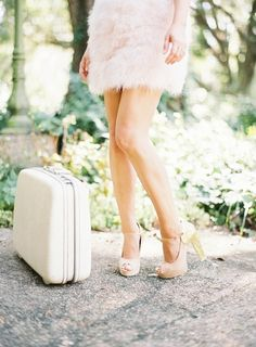 Fluffy skirt and gold and blush pumps: http://www.stylemepretty.com/living/2015/01/07/beauty-must-haves-with-ashley-sievert/ | Photography: Marissa Lambert - http://marissalambertphotography.com/