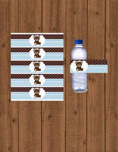 Oso de peluche azul Baby Shower osito de peluche azul botella