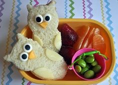 Owl snacks replace bread with crackers, do ears and wings with white cheese and beak with orange cheese. Eyes with?