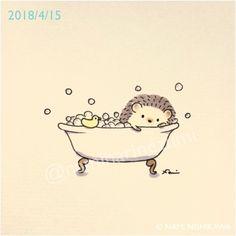 Zeichnungen Ideen zeichnen The Fuss About Hair Washing! Hedgehog Drawing, Hedgehog Art, Cute Hedgehog, Cute Animal Drawings, Kawaii Drawings, Easy Drawings, Hedgehog Illustration, Cute Illustration, Cute Doodles