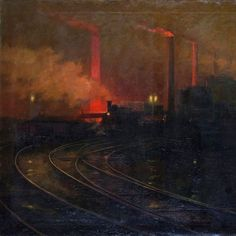 Cardiff Steelworks at Night - Lionel Walden,
