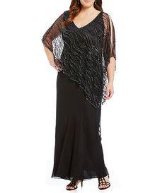 Jkara Plus V-Neck Beaded Capelet Gown