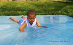 DIY Water play mat. Looks like so much fun for a hot summer day!