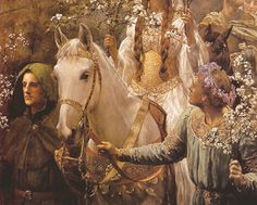 King Arthur and Guenevere medieval inspired lady on white horse with guide.