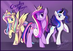 Fluttershy, Twilight, and Rarity cosplaying as Cadence, Celestia, and Luna :D