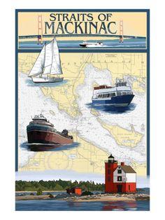 Straits of Mackinac, Michigan - Nautical Chart Posters by Lantern Press at AllPosters.com