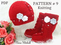Knitting PATTERN Baby Set Knitted Baby Hat Baby Shoes Infant Newborn Baby Uggs Babies Baby Booties Baby Boy Baby Girl Pattern ( PDF…