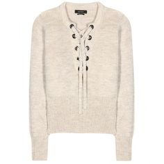 Isabel Marant Charley Wool-Blend Sweater (905 CAD) ❤ liked on Polyvore featuring tops, sweaters, beige, beige sweater, isabel marant, isabel marant top, pink top and beige top