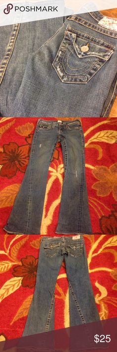 True Religion 503 jeans Classic 503 jeans, distressed look.  These have been hemmed, rather poorly in my opinion.  Priced accordingly. True Religion Jeans Flare & Wide Leg