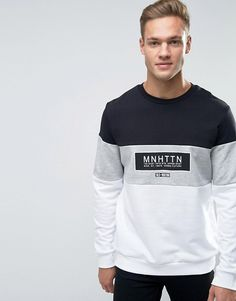 New Look Sweatshirt In Black With Manhattan Print Sweat Shirt, Tee Shirt Homme, Mode Costume, New Mens Fashion, Mode Hijab, Stylish Men, Mens Sweatshirts, Sweater Weather, Shirt Style