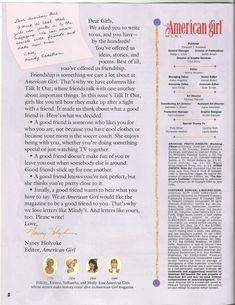 American Girl Magazine - January 1993/February 1993 Issue - Page 3 (Dear American Girl)