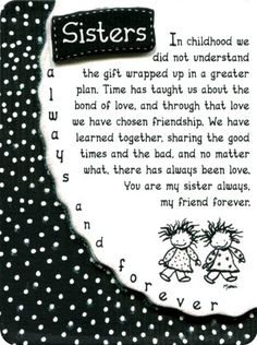 Blue Mountain Arts Sisters Always and Forever by Marci Miniature Easel-Back Print with Magnet Little Sister Quotes, Sister Poems, Sister Quotes Funny, Sister Birthday Quotes, Happy Birthday Wishes, Little Sisters, Birthday Thoughts For Sister, Poems About Sisters, Sister Sayings