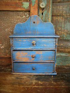Primitive Early Antique Spice Cabinet Cupboard Blue Paint is part of Antique Blue cabinet - Farmhouse Living Room Furniture, Primitive Furniture, Country Furniture, Country Decor, Kitchen Furniture, Primitive Kitchen, Primitive Antiques, Country Primitive, Primitive Decor