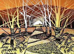 Rob Barnes Woodland Way, lino Painting Prints, Art Prints, Block Prints, Paintings, Linoleum Block Printing, Wood Engraving, Linocut Prints, Woodblock Print, Tree Art