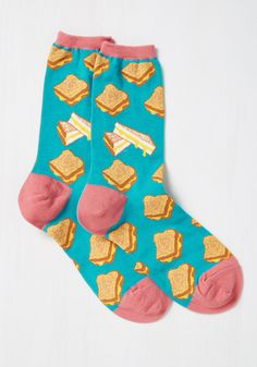 Cheese Louise Socks. If you like your queso served quirky, then these teal socks will tickle your fancy! #blue #modcloth