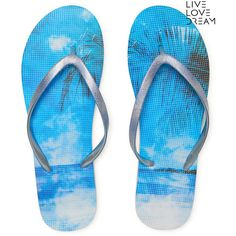 Aeropostale LLD Paradise Flip-Flop ($6) ❤ liked on Polyvore featuring shoes, sandals, flip flops, adriatc blue, aeropostale flip flops, aeropostale sandals, blue sandals, metallic blue shoes and synthetic shoes