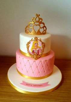 Princess Aurora cake with handmade gold crown Princess Aurora Party, Princess Theme Cake, Disney Princess Birthday Party, Aurora Cake, Princesse Party, Sleeping Beauty Cake, Pig Birthday Cakes, 4th Birthday, Prince Cake