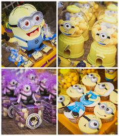 Minion themed birthday party with So Many Fabulous Ideas via Kara's Party Ideas! Full of decorating tips, cupcakes, favors, printables, and ...
