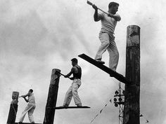 Victoria, Australia 1960s: Such a HUGE and popular event. 1964: Wood chopping at the Royal Melbourne Show. Picture: Herald Sun Image Library
