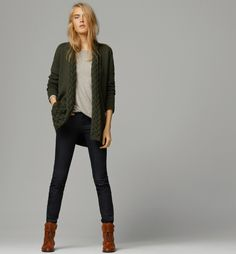 CARDIGAN WITH CABLE-KNIT LAPEL