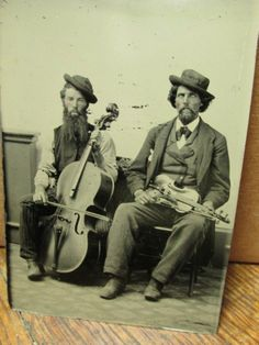 CDV Sized Tintype c. 1870 Scraggly Bearded Old Time Musicians Cello Violin Nice!