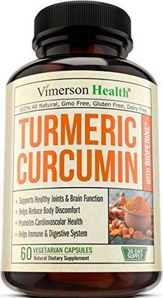 Vimerson Health Turmeric Curcumin with Bioperine Anti-Inflammatory, Antioxidant & Anti-Aging Supplement with 5mg of Black Pepper for Better Absorption. All Natural & Non-Gmo Joint Pain Relief #Supplements