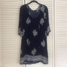 Navy & white printed coverup/dress. Rayon, navy & white coverup/dress. Never worn. Lime & Chili Dresses Mini