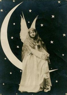 An Angel on a Paper Moon - Commercial Real Photo Postcard Luna Lovegood, Vintage Moon, Shoot The Moon, Moon Photos, Moon Photography, Paper Moon, Fantasy Images, Moon Art, Photo Postcards