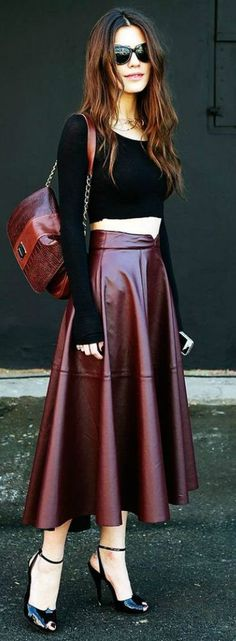 7e40c23dd8cba2 116 Best Burgundy skirt images in 2018 | Leather skirts, Burgundy ...