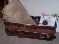 old belts and freezer basket repurposed