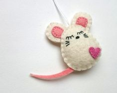 Felt white mouse ornament party decor Christmas mice home handmande nursery Easter decoration Baby shower eco-friendly Holiday gift idea