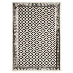 Anchor your living room seating group or define space in the den with this hand-woven wool rug, showcasing an alluring trellis motif in ivory and black....