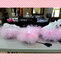 Tutu centerpieces- you can buy fish bowls at dollar store and make tutu around the top, add some pink marbles in the bottom, fill with water, and then add a floating candle!!!  Cute & cheap centerpiece or decoration for baby shower!!!