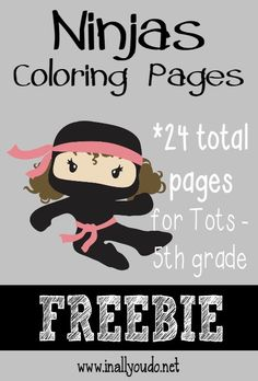 What boy doesn't like Ninjas? Here's a fun set of coloring pages that boys & girls will both enjoy!! :: www.inallyoudo.net