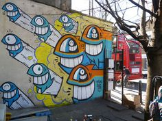 PEZ in London –more (hyper-color against gray) images @ http://www.juxtapoz.com/Street-Art/pez-in-london –PEZ, London, England, Street Art, Paint, Public Art