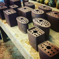 Flower bricks click the image or link for more info. Hand Built Pottery, Slab Pottery, Pottery Vase, Ceramic Pottery, Ceramic Planters, Ceramic Clay, Ceramic Bowls, Ceramic Techniques, Pottery Techniques