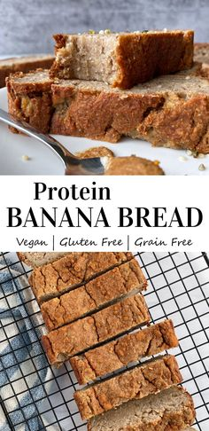 This Vegan Banana Protein Bread is the best high protein bread recipe. It's low carb, Paleo, only sweetened with bananas, non dairy, grain free, moist and easy to make. With qualities like this, what's not to like?! #paleo #veganbread #veganprotein #proteinbananabread #proteinbread #dairyfree Protein Banana Bread, Banana Bread Ingredients, Vegan Banana Bread, Easy Banana Bread, Vegan Bread, Paleo Vegan, Vegan Baking, Vegetarian, Egg Free Recipes