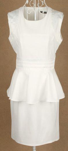 White Sleeveless Elasic Waist Ruffles Dress
