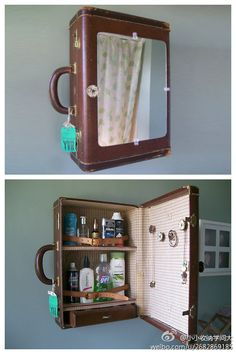 medicine cabinet made from old suitcase