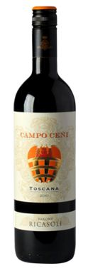 Campo Ceni Rosso di Toscana - Ricasoli  Campo Ceni was created to complete the stylistic approach of which Casalferro and Torricella are important representatives. It is a relatively young wine whose quality and pleasantness come from the freshness of its fruit  http://www.italiaworldwide.com/eng/campo-ceni-ricasoli.html