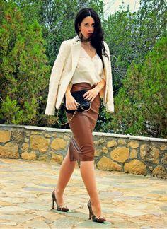 Camel Leather Midi Skirt