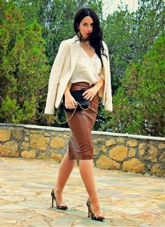 Camel Leather Midi Skirt # #Pearls