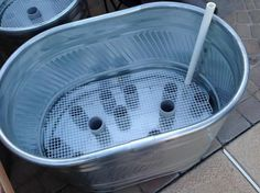 Building Self Watering (Sub-Irrigation) trough planter - Valley Permaculture Alliance (wicking garden beds) Galvanized Tub Planter, Trough Planters, Galvanized Steel, Planters Flowers, Plant Troughs, Hydroponic Gardening, Container Gardening, Organic Gardening, Indoor Aquaponics