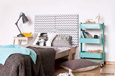 meble - łóżka-Zagłówek modułowy made for bed, zygzak szary