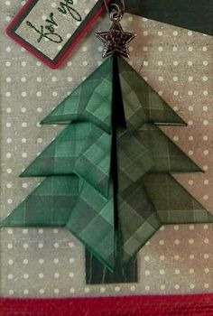 """How to Make a """"Tea Bag Fold"""" Christmas Tree – I Played With Paper Today! Origami Christmas Tree Card, Christmas Tree Quilt, Christmas Ornament Crafts, Christmas Cards To Make, Christmas Bags, Handmade Christmas, Christmas Crafts, Diy Tea Bags, Origami Cards"""