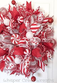 Candy Cane Wreath - Deco Mesh Wreath - Christmas Wreath for front door - Red…
